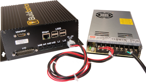 The Buildbotics CNC controller with an LRS-350-36 power supply.