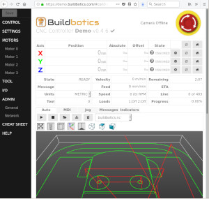 A view of the Buildbotics Web interface