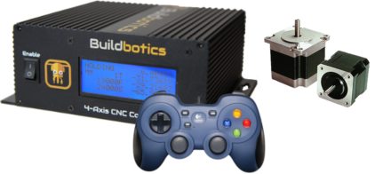 Buildbotics CNC machine controller with gamepad and stepper motors